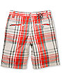 Fox Boys Drop Dead Red & Grey Plaid Shorts