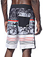 "Free World Tides Black, Charcoal, & Red Stripe 20"" Board Shorts"