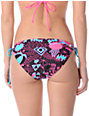 Glamour Kills 80s Glam Turquoise & Pink Side Tie Bikini Bottom
