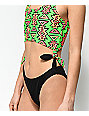 Gotcha Bitchin Black & Green Monokini One Piece Swimsuit