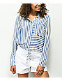 H.I.P. Blue & White Stripe Tie Front Button Up Shirt