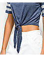 Jolt Karlie Athletic Stripe Tie Front Blue T-Shirt