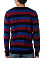 KR3W Douglas Navy & Burgundy Crew Neck Sweater