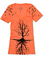 Lira Tree Coral & Black V-Neck T-Shirt