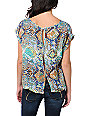 Love, Fire Blue Snake Print Button Back Top