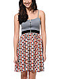 Love, Fire Grey Geo Print Zipper Dress