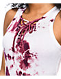 Lunachix Lara Burgundy Tie Dye Lace Up Tank Top