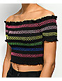 Lunachix Lizzie Off The Shoulder Black Smocked Crop Top