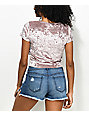 Lunachix Sasha Ice Pink Crushed Velvet Crop Top