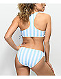 Malibu Blue & White Striped Hipster Bikini Bottom