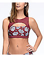 Malibu Talk to the Hamsa Burgundy High Neck Halter Bikini Top