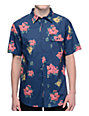 Matix Hawaiian Print Blue Short Sleeve Button Up Shirt