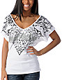Metal Mulisha Skullentine White V-Neck Dolman Top