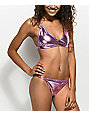 Motel Kaia Metallic Pink Triangle Bikini Top