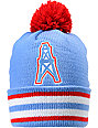 NFL Mitchell and Ness Houston Oilers Striped Cuff Pom Beanie