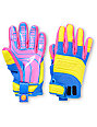 Neff Rover Blue, Pink & Yellow Pipe Snowboard Gloves