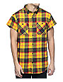Ninth Hall Enzo Yellow & Red Destroyed Short Sleeve Flannel Shirt