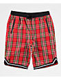 Ninth Hall Tartan Plaid Red Basketball Shorts