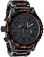 Nixon 51-30 Matte Black & Dark Tortoise Mens Chronograph Watch