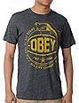 Obey Cant Jump Mock Twist Heather Black T-Shirt