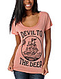 Obey Devil to the Deep Red Mock Dolman Top