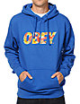 Obey Faster Times Blue & Hawaiian Print Pullover Hoodie