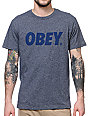 Obey Font Heather Navy Blended T-Shirt