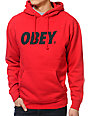 Obey Font Red Pullover Hoodie