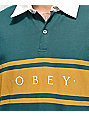 Obey Hero Classic Teal & Gold Long Sleeve Polo Shirt