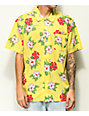 Obey Kane Yellow Tropical Floral Short Sleeve Button Up Shirt