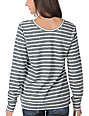 Obey Life Font Charcoal & White Striped Crew Neck Sweatshirt