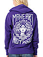Obey Make Art Not War Purple Zip Up Hoodie