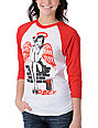 Obey Pin Up Wings Red & White Baseball Tee