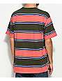 Obey Props Pink & Olive Stripe T-Shirt