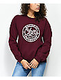 Obey Since 89 Burgundy Crew Neck Sweatshirt