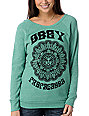 Obey Starflower Green Boyfriend Pullover Sweatshirt