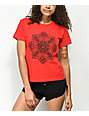 Obey Stop The Violence Mandala Red Shrunken T-Shirt