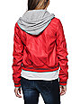 Obey Varsity Lover Red Hooded Faux Leather Jacket