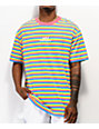 Odd Future OF Pink, Blue & Yellow Striped T-Shirt