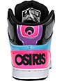 Osiris NYC 83 Slim Black, Cyan & Pink Shoes