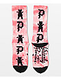 Primitive x Grizzly Logo Scatter Coral Washed Crew Socks