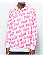 Salem7 Fuck! Allover Print White & Pink Hoodie