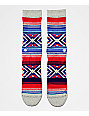 Stance Roo Grey, Blue & Red Striped Crew Socks