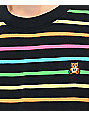 Teddy Fresh Rainbow Stripe Black Knit T-Shirt