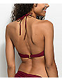 Trillium Burgundy High Neck Crochet Bikini Top