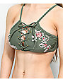 Trillium Olive Floral Embroidery Lace Up High Neck Bikini Top