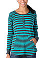 Zine Charcoal & Teal Stripe Henley Hooded Shirt
