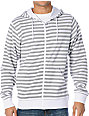 Zine Fineline White & Grey Striped Zip Up Hoodie