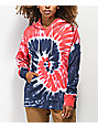 Zine Freema Red, Blue & White Tie Dye Hoodie