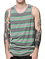 Zine Seein Green Striped Grey Tank Top